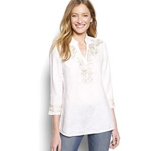 Orvis embroidered linen popover tunic XS